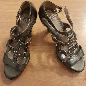 Grey patent sandals