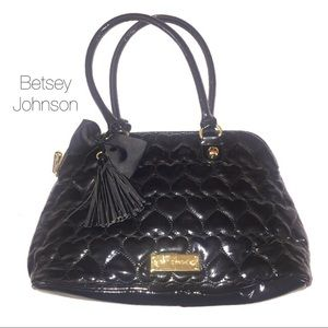Betsey Johnson Black Patent Quilted Heart Purse