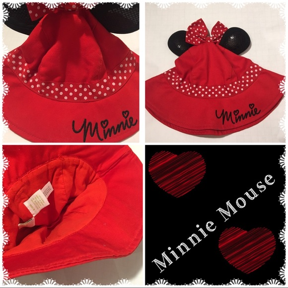 Adorable Minnie Mouse red sun hat for infant 2b561e0df02