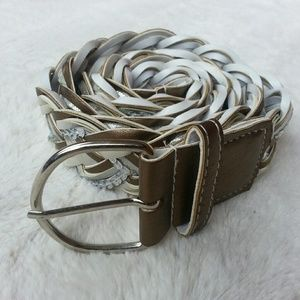 4 for $20 White and Bronze Woven Belt
