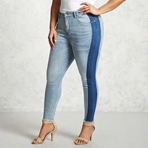 Forever 21 Side Stripe Frayed Ankle Jeans (plus)