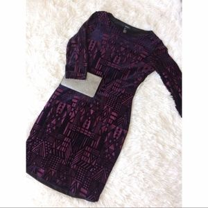 FOREVER 21 tribal burgundy + black velvet dress