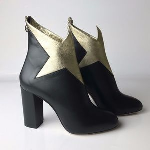 Charlotte Olympia Galactica Black Gold Boots 38