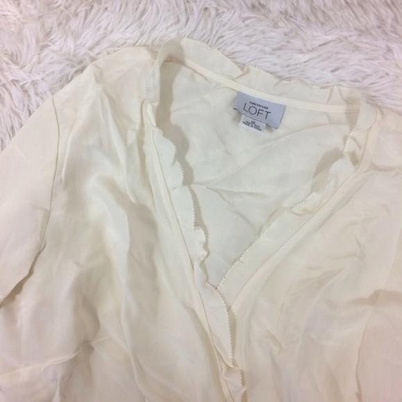 LOFT Tops - LOFT ivory wrap bell cuff long sleeve dressy top