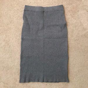 Soft grey knit pencil skirt