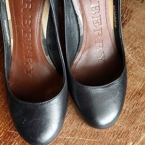 "Black Leather Burberry 4"" Heels"