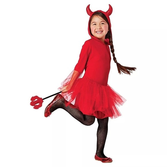 red devil girls halloween costume size large 10 12