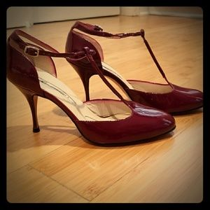 Brian Atwood Burgundy T Strap Patent Heels 6 1/2