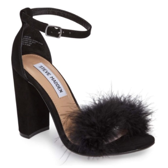8770e2281c3 Steve Madden Carabu Black Suede Feather Sandals