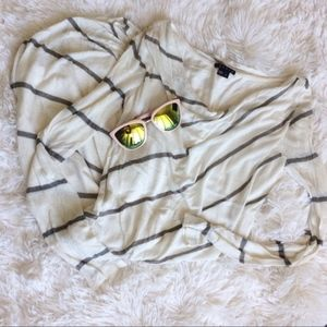 THEORY cream+green striped long sleeve cowl dress