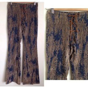 Denim - VTG 90s Outlooks Suede Laceup Pants SZ 1 Coachella