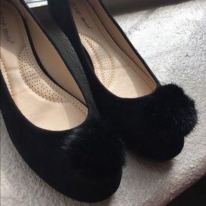 Shoes - Black pompom flats