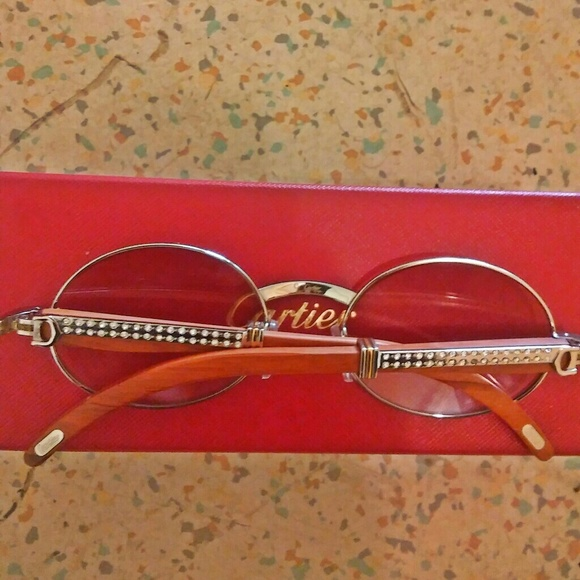 d4c79687884 Custom wood Diamond Cartier Sunglasses. NWT. Cartier.  300  400. Size