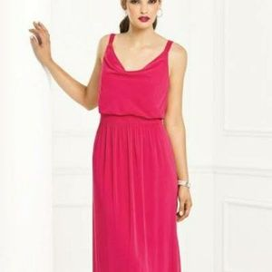 Coral pink flowy Bridesmaid or cocktail dress
