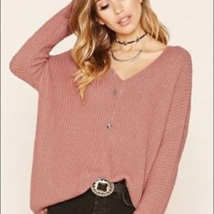 Sweaters - Mauve pink sweater with deep vneck back