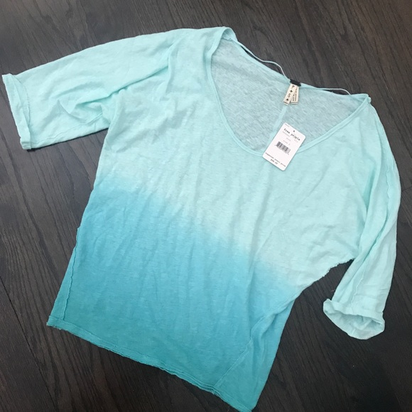 Free People Tops - NWT Free People Strawberry Tee Top Mint Ombre Blue