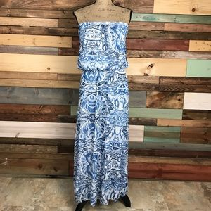 Cynthia Rowley Blue Paisley Strapless Maxi Dress M