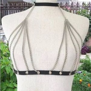Jewelry - Faux leather Bondage Bralette Bodychain Silver