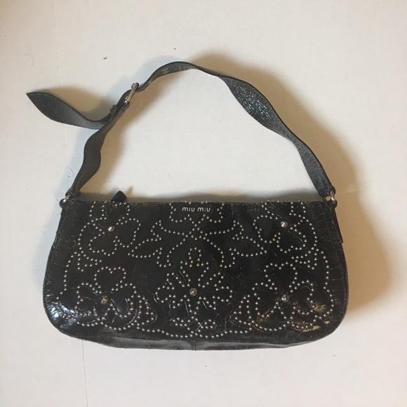 Miu Miu Bags   Vintage Embossed Studded Leather Handbag   Poshmark 71c1c7db04