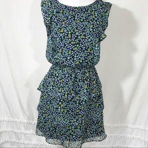 Xhilaration Blue Floral Tie Waist Tiered Dress