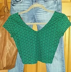 Green and black Patterned Crop Top