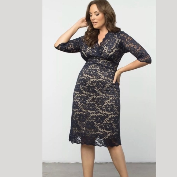 Kiyonna Dresses & Skirts - Kiyonna scallop edge lace blue dress Sz 5 x NWT