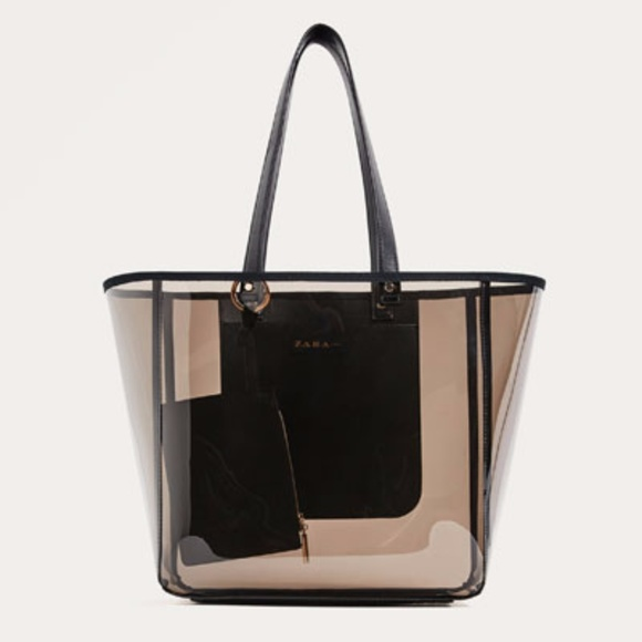 110784ee0b0 Zara Bags | Transparent Tote Black Bag 4826 | Poshmark