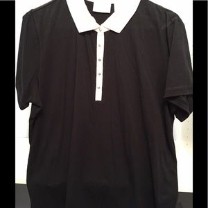 Black Top With Wht.Eyelet Collar & placket W/Snaps