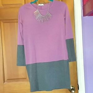 Dresses & Skirts - Purple and Gray Long Sleeve Cotton Dress