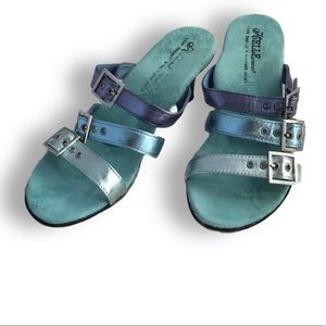 Beautiful multicolor suede and leather sandals