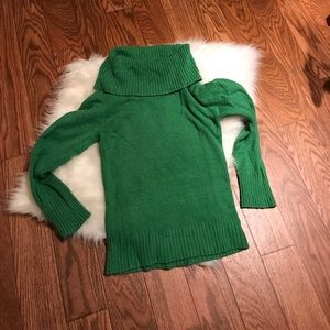 Faded Glory Green Cowl neck sweater 4-6