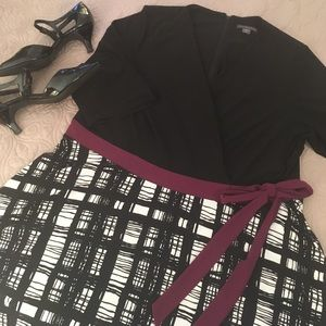 Black and purple wrap dress