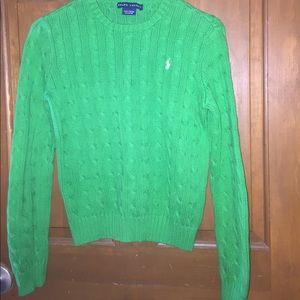 Crewneck, dark green knit Ralph Lauren sweater
