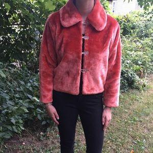 Jackets & Blazers - Vintage orange/red fake fur coat