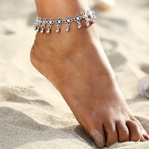 Other - Floral Dangle Ball Silver-Tone Summer Beach Anklet