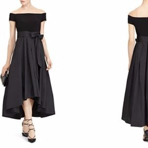 Ralph Lauren Mixed Media Gown 12P Black New w/ tag