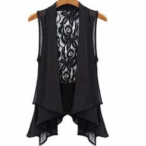 Tops - Ruffle & Lace Tie Black Dress Blouse Vest Top NWT