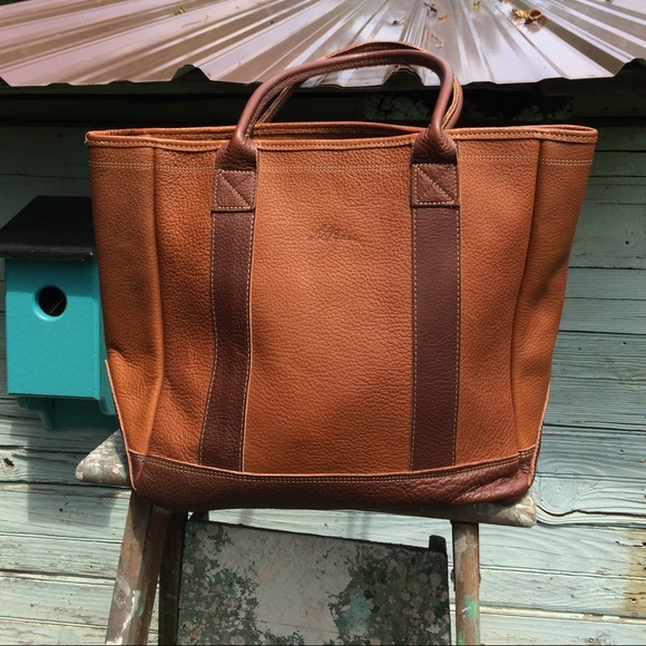 Outstanding Ll Bean Leather Tote Bag Tan Maple Brown Great Evergreenethics Interior Chair Design Evergreenethicsorg