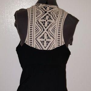 Elle Dresses - Sexy Black V-Neck Dress Off-white Crochet Straps