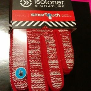 Accessories - Isotoner SmartTouch Red Knit & Fleece Gloves