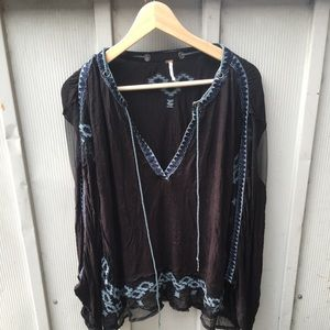 Free People Poncho Blouse