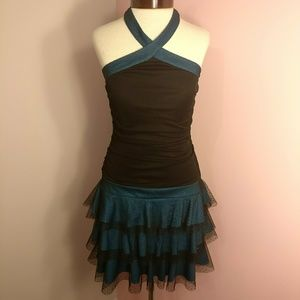 Black & Blue Sparkly 90s Halter Ruffle Dress