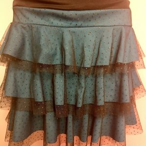 I.N. San Francisco Dresses - Black & Blue Sparkly 90s Halter Ruffle Dress