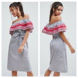 Asos Off Shoulder Embroidered Striped Midi Dress