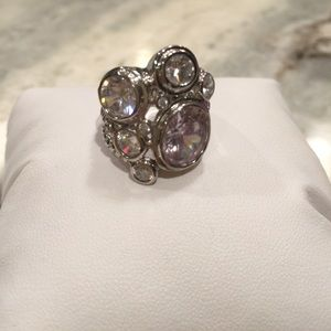 Accessories - Silver Tone Rhinestone Ring - Size 8