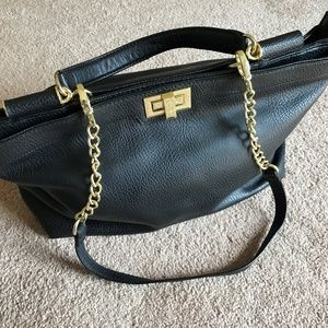 OLIVIA + JOY The Flore Top Handle Black Handbag