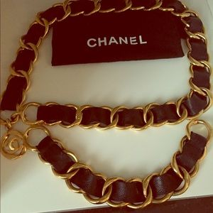 CHANEL vintage, leather and gold chain belt.