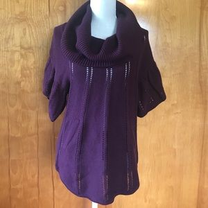 🌟BCBG Purple Cowl Neck Short Sleeved Sweater- M