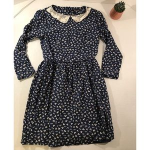 ELAND classic-Floral dress with lace collar-Small