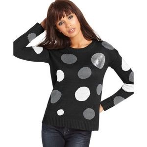 NWT Kensie black polka dot sequin sweater sz small